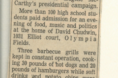 Figure Page 66--   A barbeque fundraiser for the presidential campaign of Sen. Eugene McCarthy, with over 100 teenagers attending,  was held at the home of the author early in 1968.