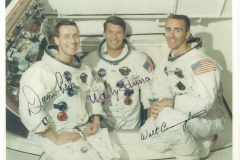Figure Page 69-- The Apollo 7 crew of  Donn Eisele, Wally Schirra, and Walt Cunningham (left to right)  made the first manned orbital flight of the Apollo Command and Service Module in October, 1968.