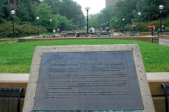 Figure Page 70--A plaza at the University of Michigan near the Engineering Arch honors U of M graduates Jim McDivitt and Ed White.