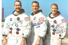 Figure Page 80-- The Apollo 9 crew of Jim McDivitt, Dave Scott and Rusty Schweickart  (left to right) tested the Lunar Module in Earth orbit in March, 1969.