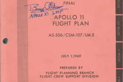 Figure Page 105--  The Apollo 11 flight plan book obtained  from the NASA News Center on July 14, 1969. Years later I had it autographed by astronaut Buzz Aldrin.