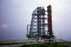 Figure Page 112-- The Apollo 11 Saturn V on launch Pad 39A at dusk on July 14, 1969.