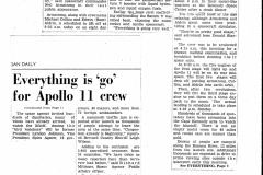 Figure Page 129--  Article written by the author on the night of  July 15, 1969 about the preparations for the Apollo 11 launch the next day. The article was on Page 1 of the July16, 1969 edition of the Michigan Dail