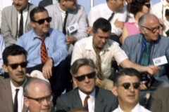 Figure Page 133--  Television personalities Ed McMahon ( center left with red tie) and Johnny Carson (center in beige shirt) in the VIP grandstands for the Apollo 11 launch on July 16, 1969.